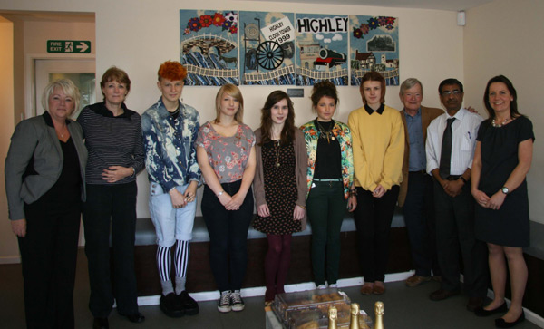 Pictured (left to right): Theresa Dolman (practice manager), Gay Barker (HPG), Students Will Dill-Russell, Emily Tennant, Sian Thomas, Ellice Bishop, Samantha Orme, who was the student co-ordinator of the project, Jim Barker (HPG) with Dr Selva and Liz Giles Head of Design Technology at Oldbury Wells.