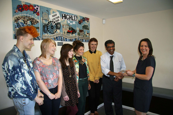 Students Will Dill-Russell, Emily Tennant, Sian Thomas, Ellice Bishop, Samantha Orme, who was the student co-ordinator of the project with Dr Selva and Liz Giles Head of Design Technology at Oldbury Wells.